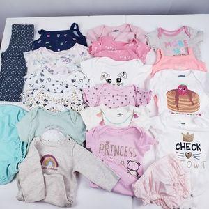 Baby Girl Clothes 19 pieces Bodysuit pants 0-3 Mon